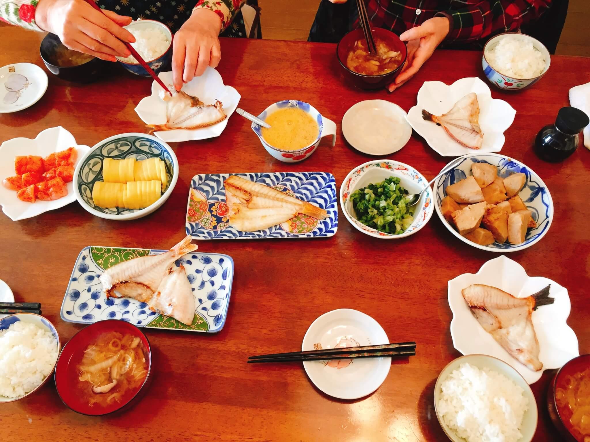 黄鯛の干物をお土産に(実家の朝食)