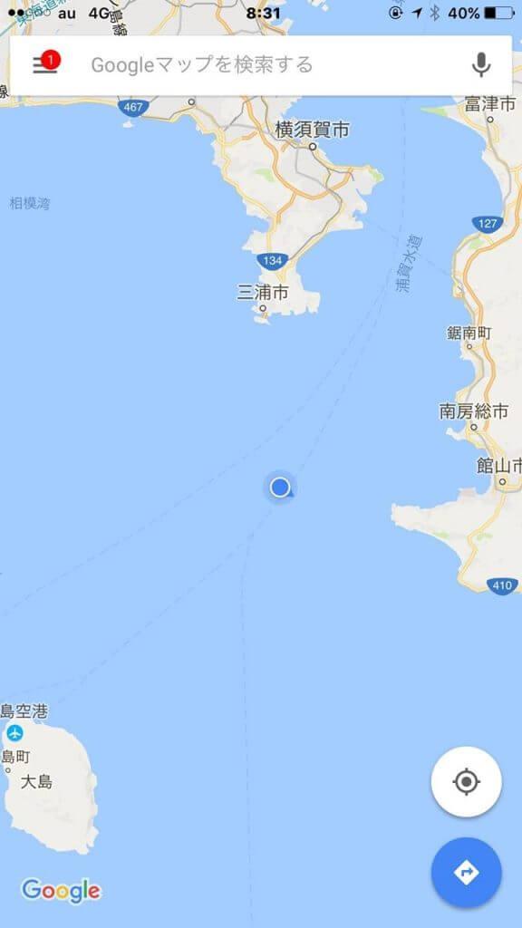 洲崎沖のヤリイカポイントへ到着