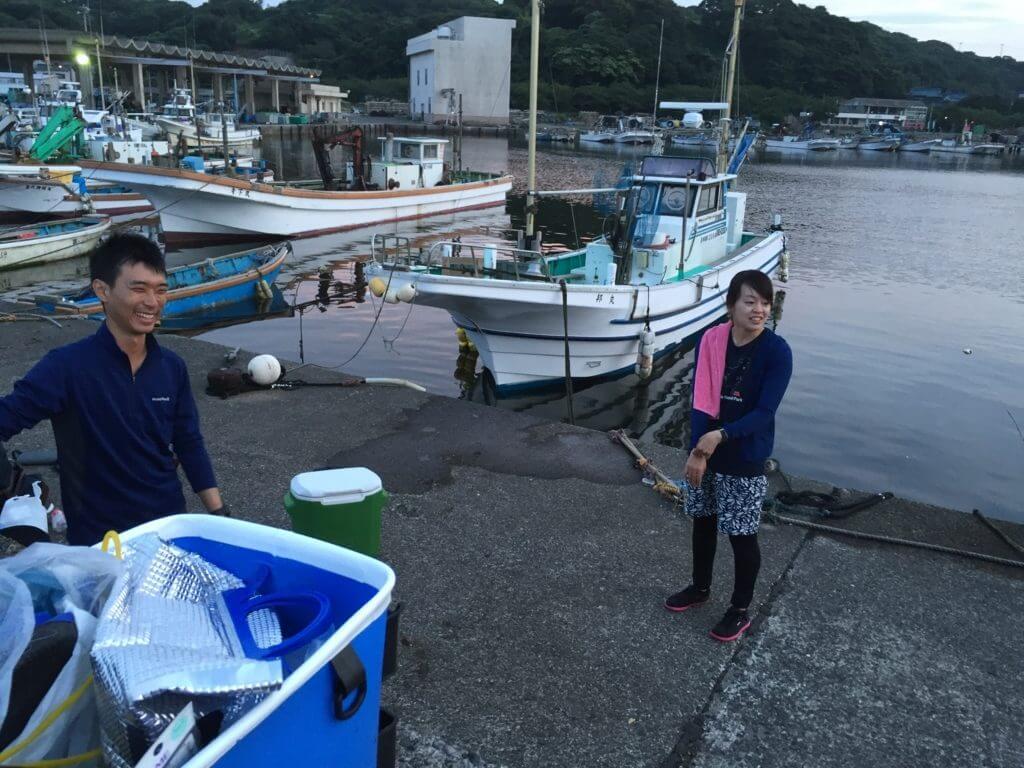 金田漁港外堤防 釣り 野本夫妻