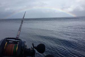 泉津港で虹