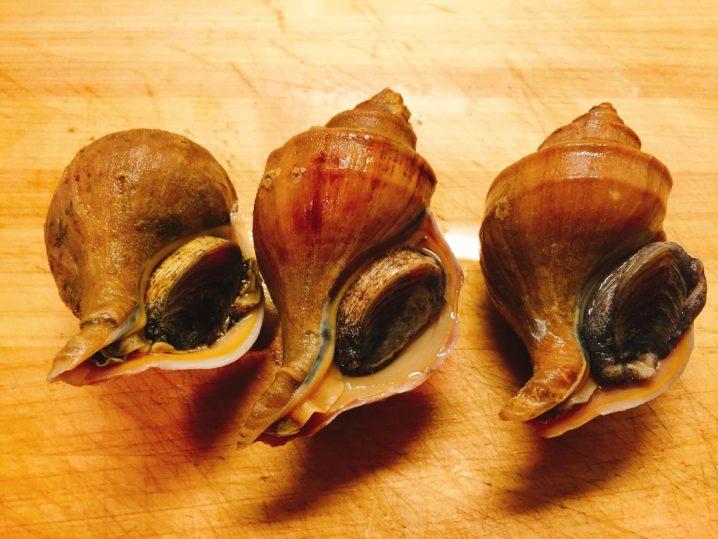 ツブ貝を料理する