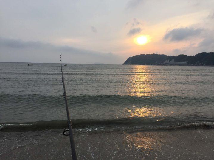 逗子海岸夕焼け釣り
