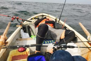 大津港でボート釣り 船酔い