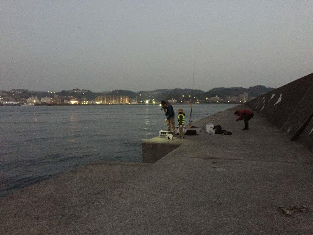 錦江湾の沖堤防