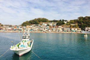 漁港内からみた小坪の町並み