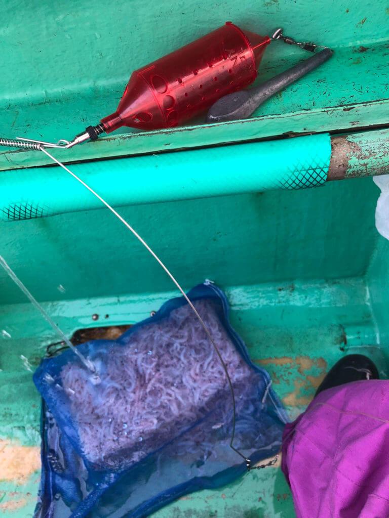 乗船後にコマセを溶かす