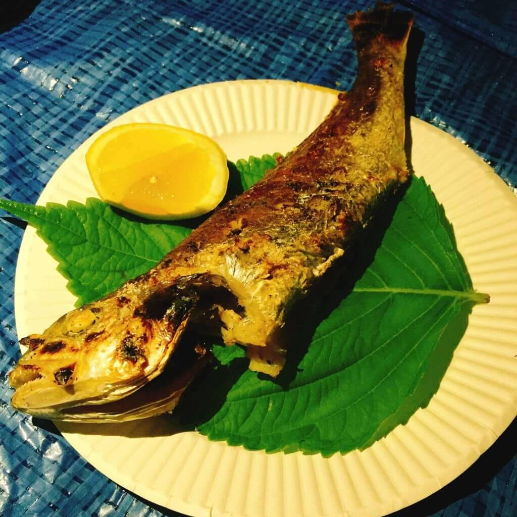 釣り料理 イシモチの塩焼き