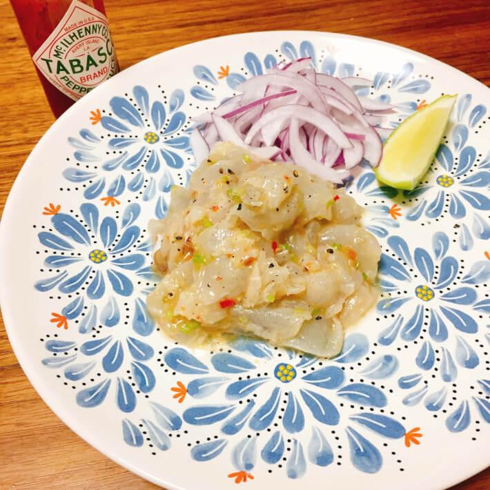 釣り料理 マゴチのメキシコ風和え物