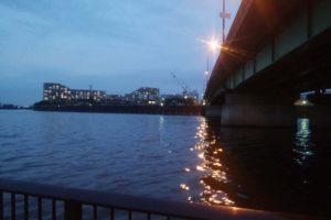 隅田川・新神谷橋でウナギ釣り