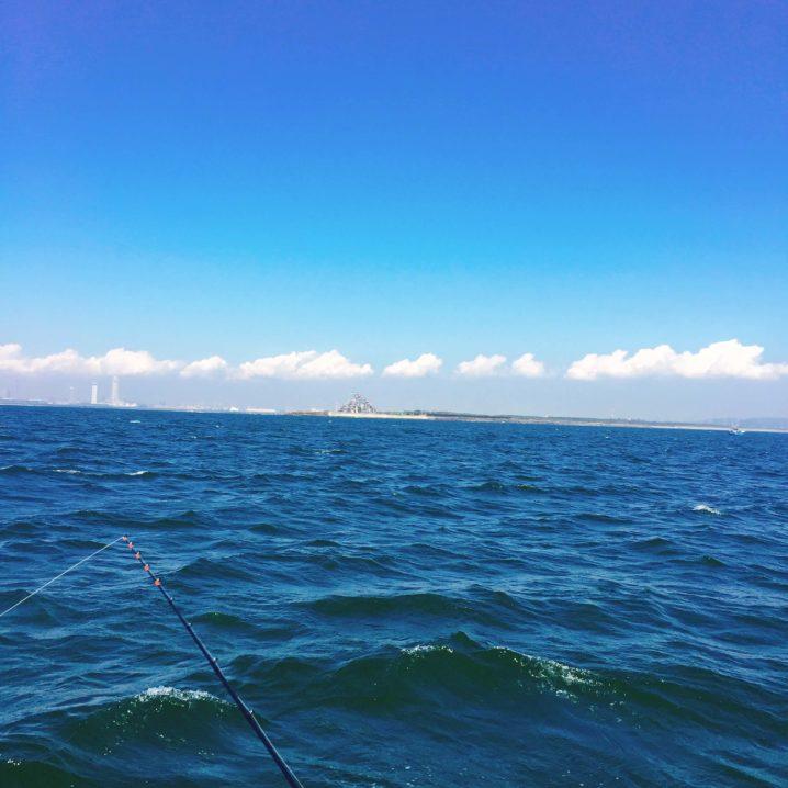 富津沖で釣り