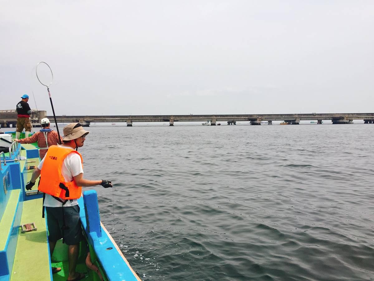 扇島付近でのタコ釣り