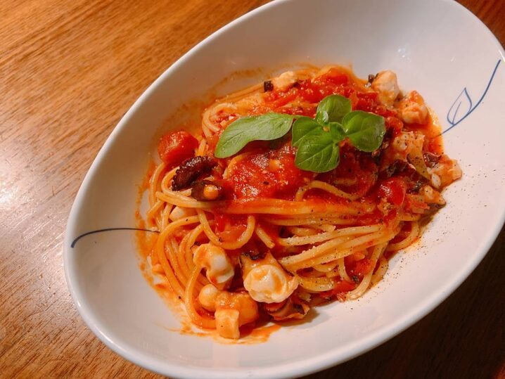 タコとトマトのスパゲッティ